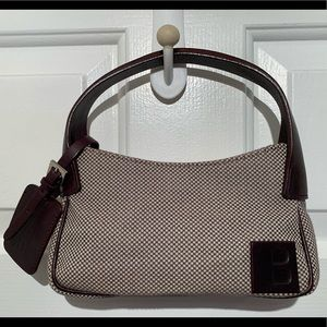 Bally Ox Blood Leather and Canvas Shoulder Bag.